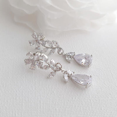 Bridal Flower Crystal Earrings- Daisy