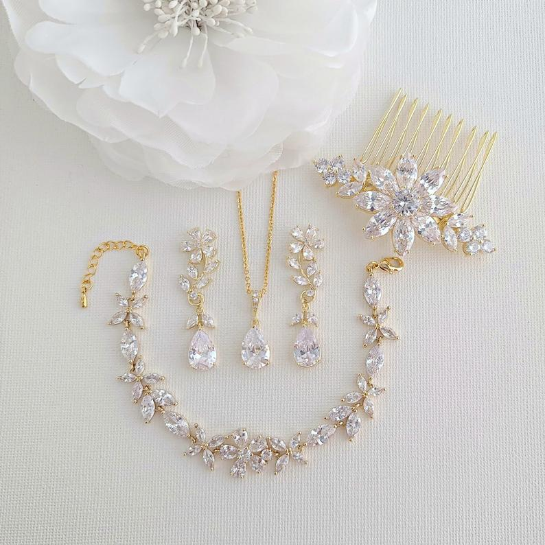 Gold Bridal Jewelry Set Earrings Necklace Bracelet Hair Comb-Daisy - PoetryDesigns