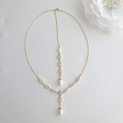 Bridal Back Necklace with Pearl & Crystal Backdrop for Weddings- Hayley