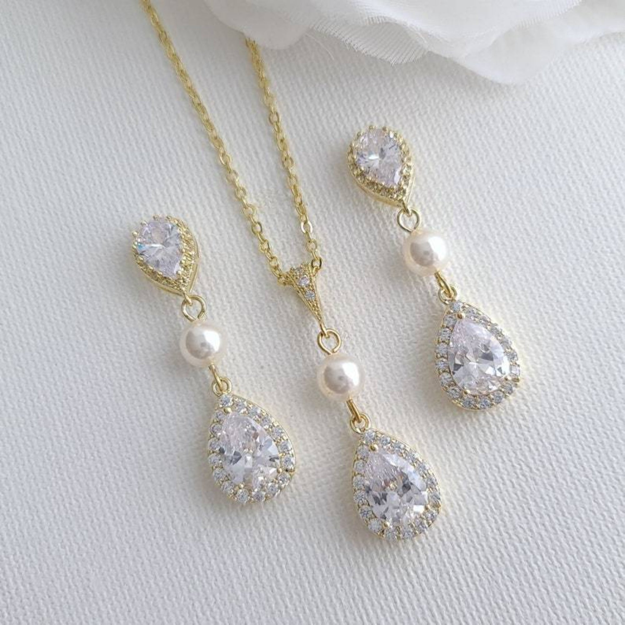 Gold Wedding Jewelry Set with Earrings & Necklace- Emma