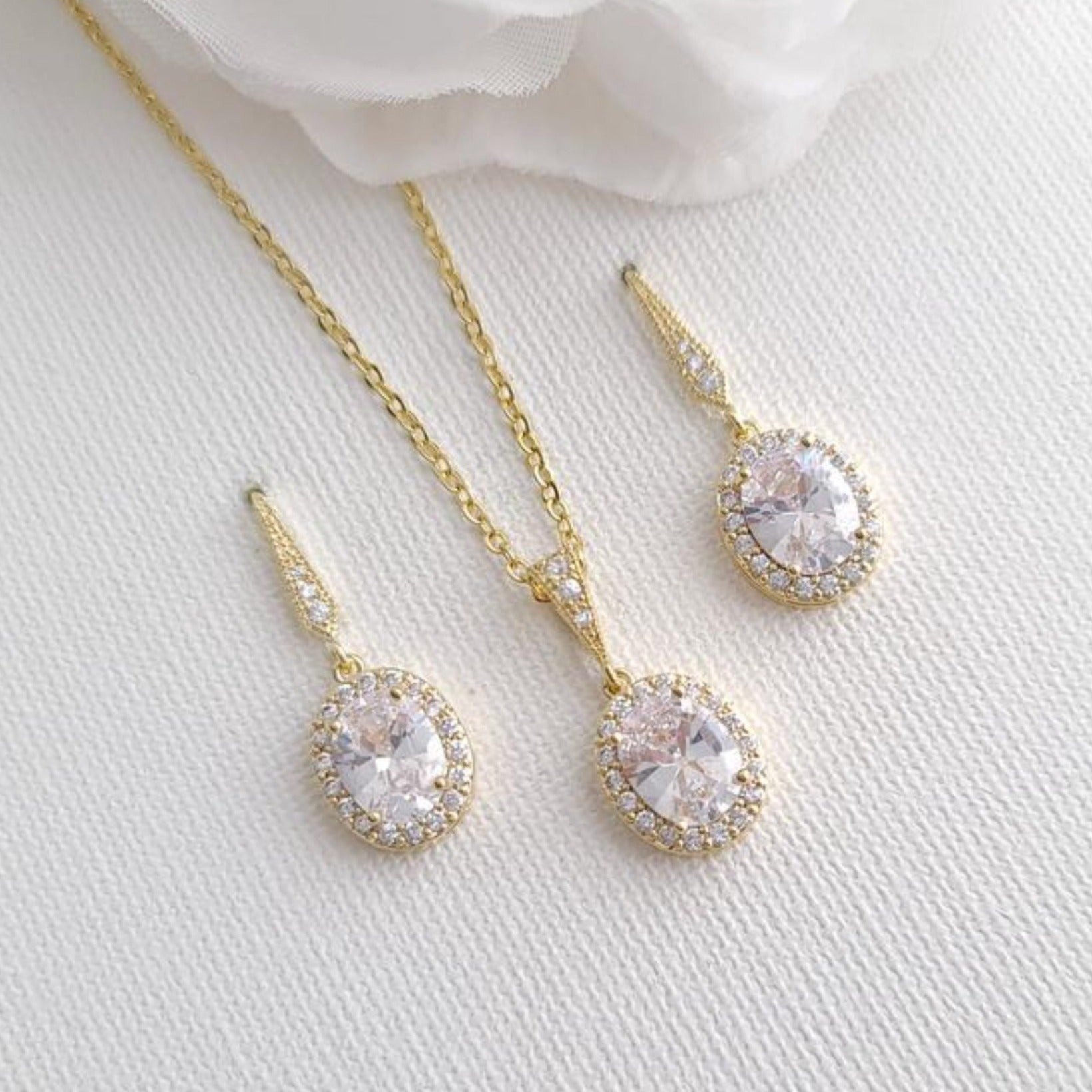 Bridesmaid Necklace and Earring Set Gold- Poetry Designs