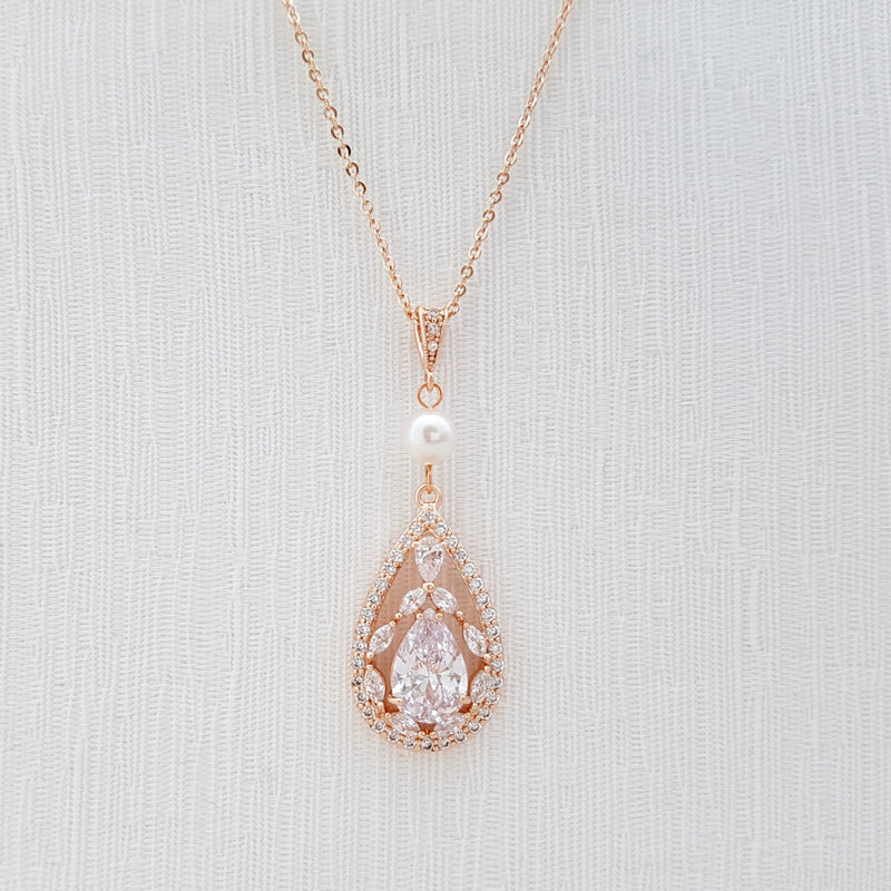Rose Gold Bridal Necklace Bridal Jewelry Pearl Rose Gold Cubic Zirconia Teardrop Pendant Necklace Rose Gold Wedding Jewelry, Esther