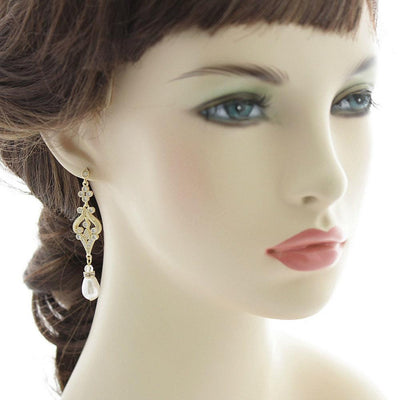 vintage style gold earrings