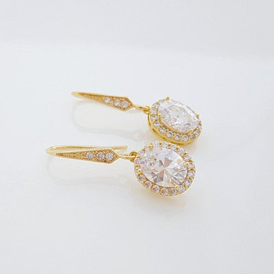 14k gold dangle earrings for Brides and bridesmaids