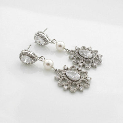 Bridal Crystal Earrings- Fiona