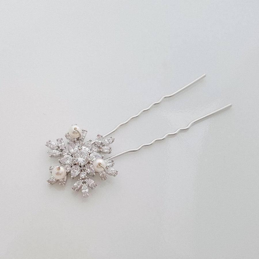 Rose Gold Hair Pins Snow Flake Crystal Wedding Hair pins Bridal Hair Accesories Wedding Hair Comb U Pins, Uma