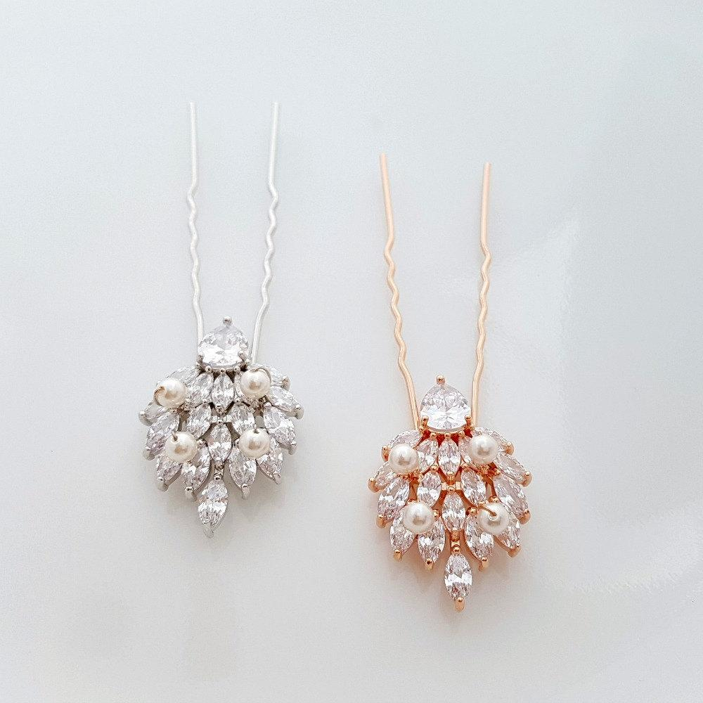 Wedding Hair Pins, Crystal Bridal Hair pins, Rose Gold Hair Pins, Bridal Hair Accesories, Cubic Zirconia, Wedding U Pins, Abby - PoetryDesigns