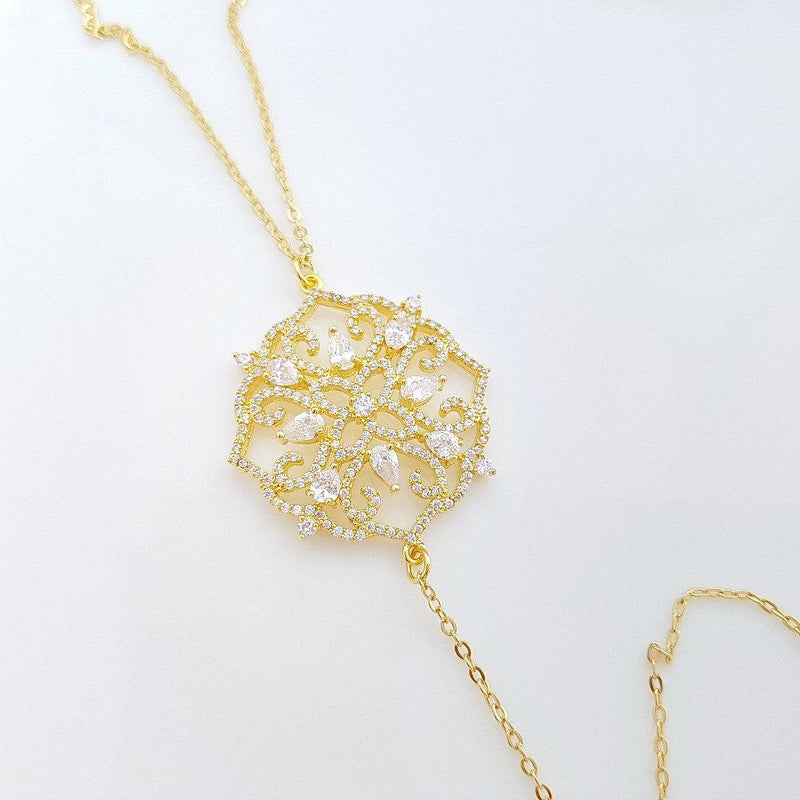 Gold Back Necklace, Bridal Backless Necklace, Crystal Wedding Necklace, Gold Bridal Backdrop Necklace, Simple Back Necklace, Sadie