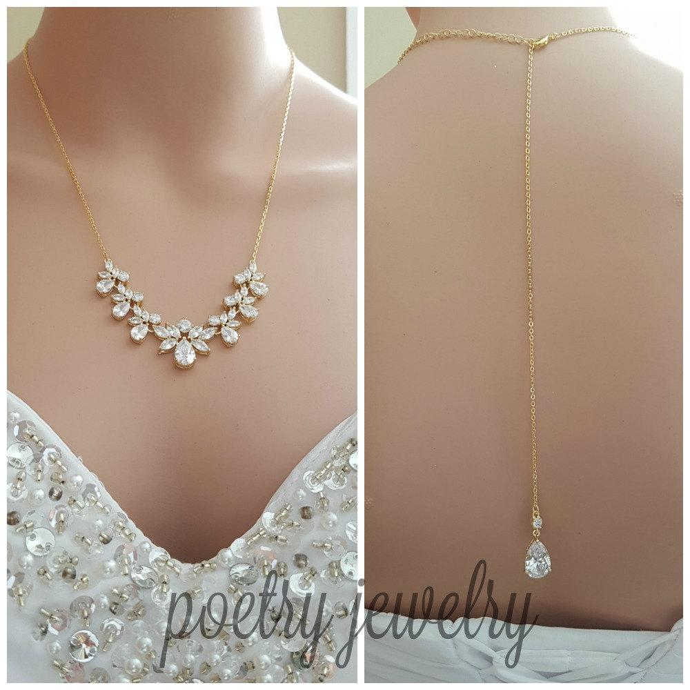 Gold Bridal Necklace, Gold Crystal Back drop Necklace, Gold Wedding Back Necklace, Gold Wedding Bridal Jewelry, Nicole - PoetryDesigns