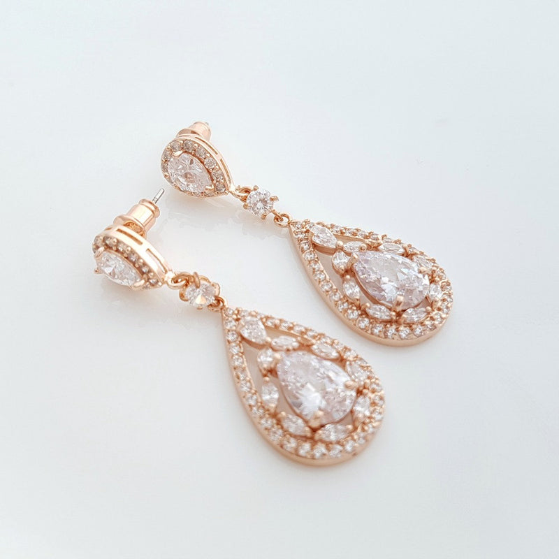 Rose Gold Statement Earrings-Esther
