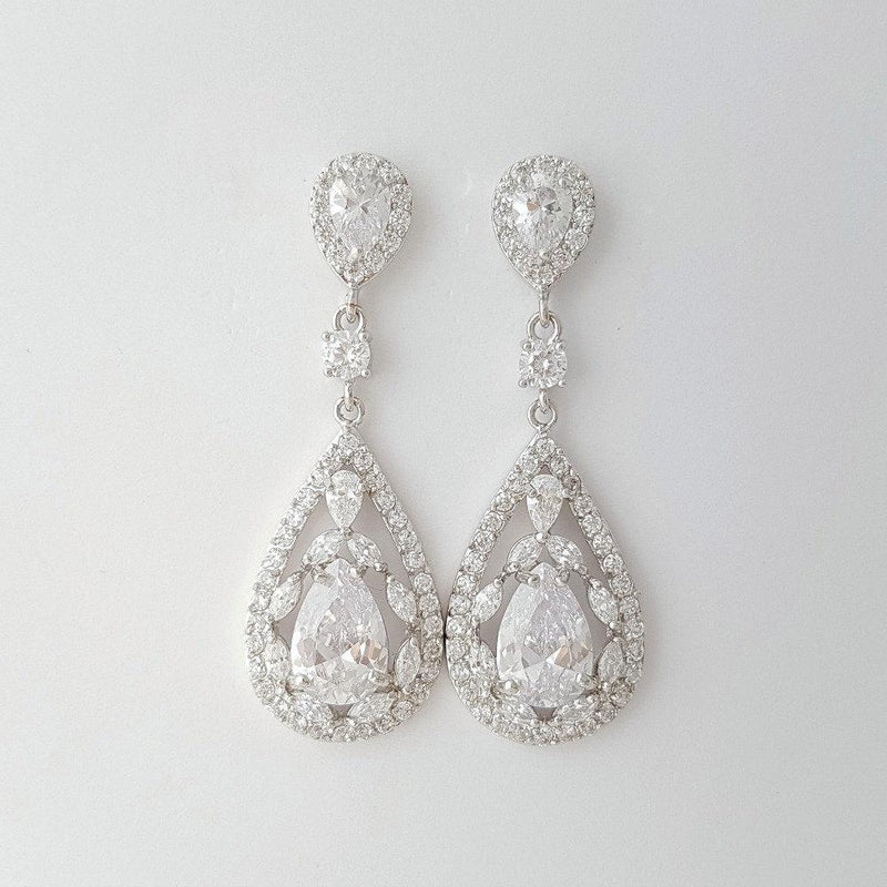 Crystal Wedding Earrings Drop-Esther