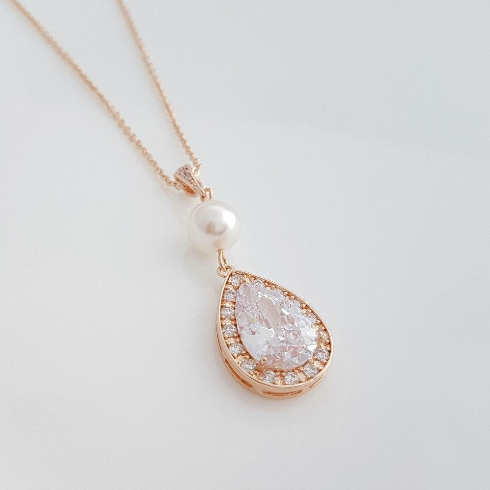 ROSE GOLD Wedding Necklace Bridal Necklace with Luxury Large Clear Cubic Zirconia Teardrop Pearl Pendant Wedding Jewelry, Evita - PoetryDesigns