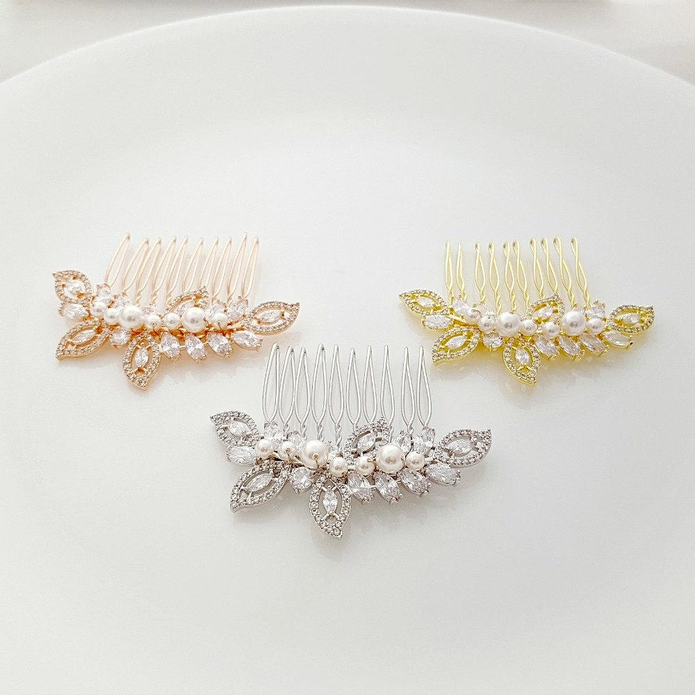Rose Gold Wedding Hair Comb-Kerry - PoetryDesigns
