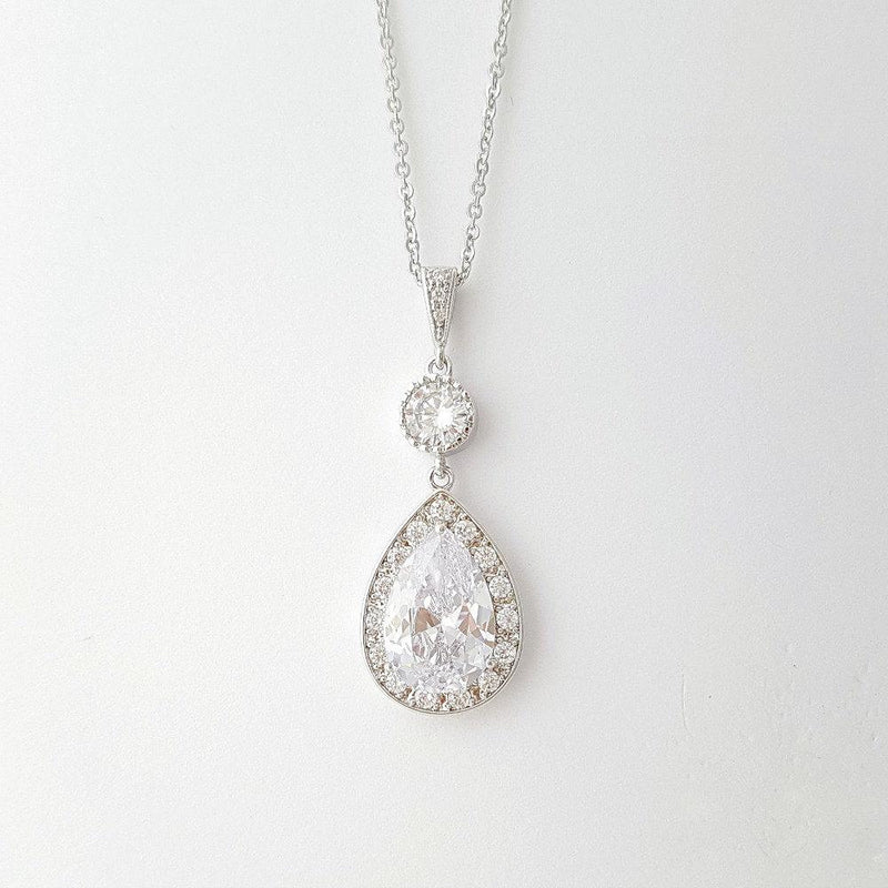 Bridal Crystal Pendant Necklace, Wedding Necklace, Bridesmaid Necklace Gift, Zirconia Pendant Rose Gold, Gold, Wedding Jewelry, Evana