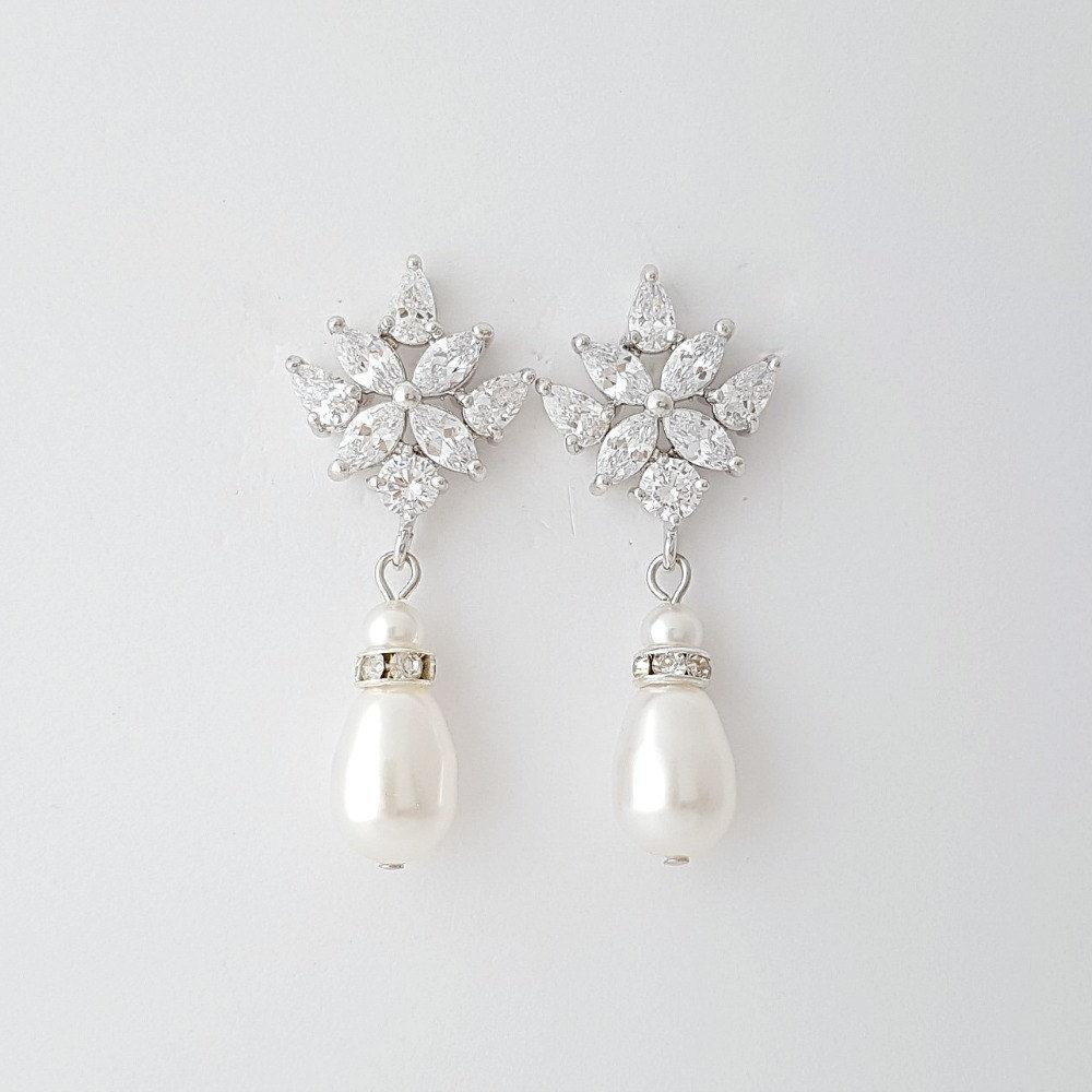 Crystal Bridal Earrings, Pearl Drop Wedding Earrings, Bridesmaid Earrings, Wedding Bridal Earrings, Wedding Jewelry, Rosa