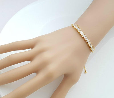 Bridal Gold Bracelet, Gold Crystal Bracelet, Adjustable Bridesmaid Bracelet, Wedding Jewelry, Simple Wedding Bracelet For Bride, Katie