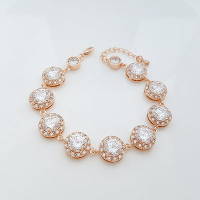 Gold Wedding Bracelet, Crystal Bridal Bracelet, Round CZ Bracelet, Rose Gold, Zirconia Bracelet, Gold Wedding Jewelry, Evita