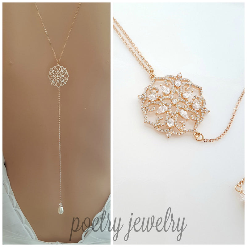 Rose Gold Back Necklace Bridal Crystal Wedding Necklace Rose Gold Bridal Backdrop Necklace Simple Statement Back Necklace, Sadie