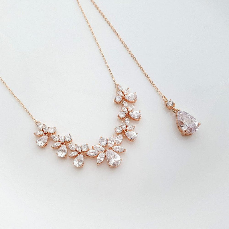 Rose Gold Bridal Necklace Crystal Bridal Back drop Necklace Rose Gold Wedding Back Necklace Wedding Bridal Jewelry, Nicole