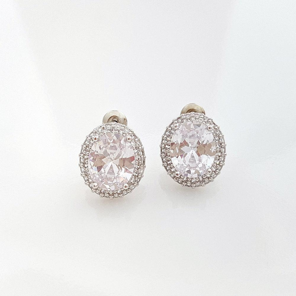 Wedding Stud Earrings Oval Crystal Cubic Zirconia Stud Bridesmaid Earrings Bride Stud Earrings, Emily Studs