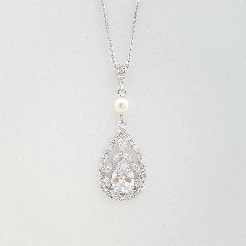 Bridal Necklace, Crystal Wedding Necklace, Cubic zirconia Necklace, Bridal Jewelry, Teardrop Pendant Necklace, Wedding Jewelry, Esther