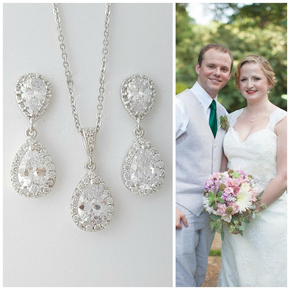 Earring Necklace Set for Brides, Crystal Wedding Set, Bridal Jewelry Set, Cubic Zirconia Teardrop Earrings Pendant Set, Emma