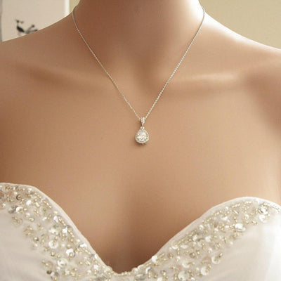 Crystal Bridal Necklace, Teardrop Bridal Pendant Necklace, Cubic Zirconia, Wedding Necklace, Bridesmaid Necklace, Bridal Jewelry, Emma
