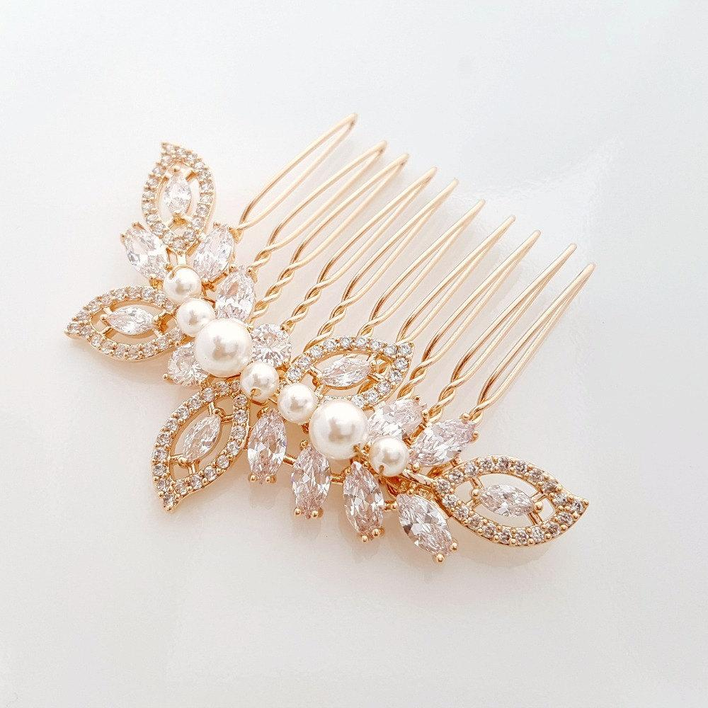 Rose Gold Wedding Hair Comb-Kerry