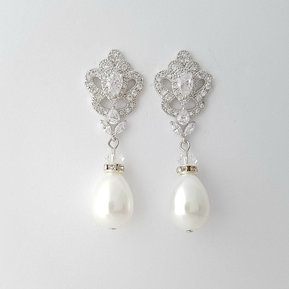 Bridal Earrings, Pearl Wedding Earrings, Crystal Pearl Drop Earrings, Teardrop Dangle Earrings, Earrings for Bride, Bridal Jewelry, Mabel