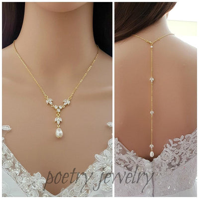 Gold Back Drop Bridal Necklace, Pearl Crystal Necklace, Wedding Necklace, Gold Backdrop Necklace, Simple Necklace, Wedding Jewelry, Leila