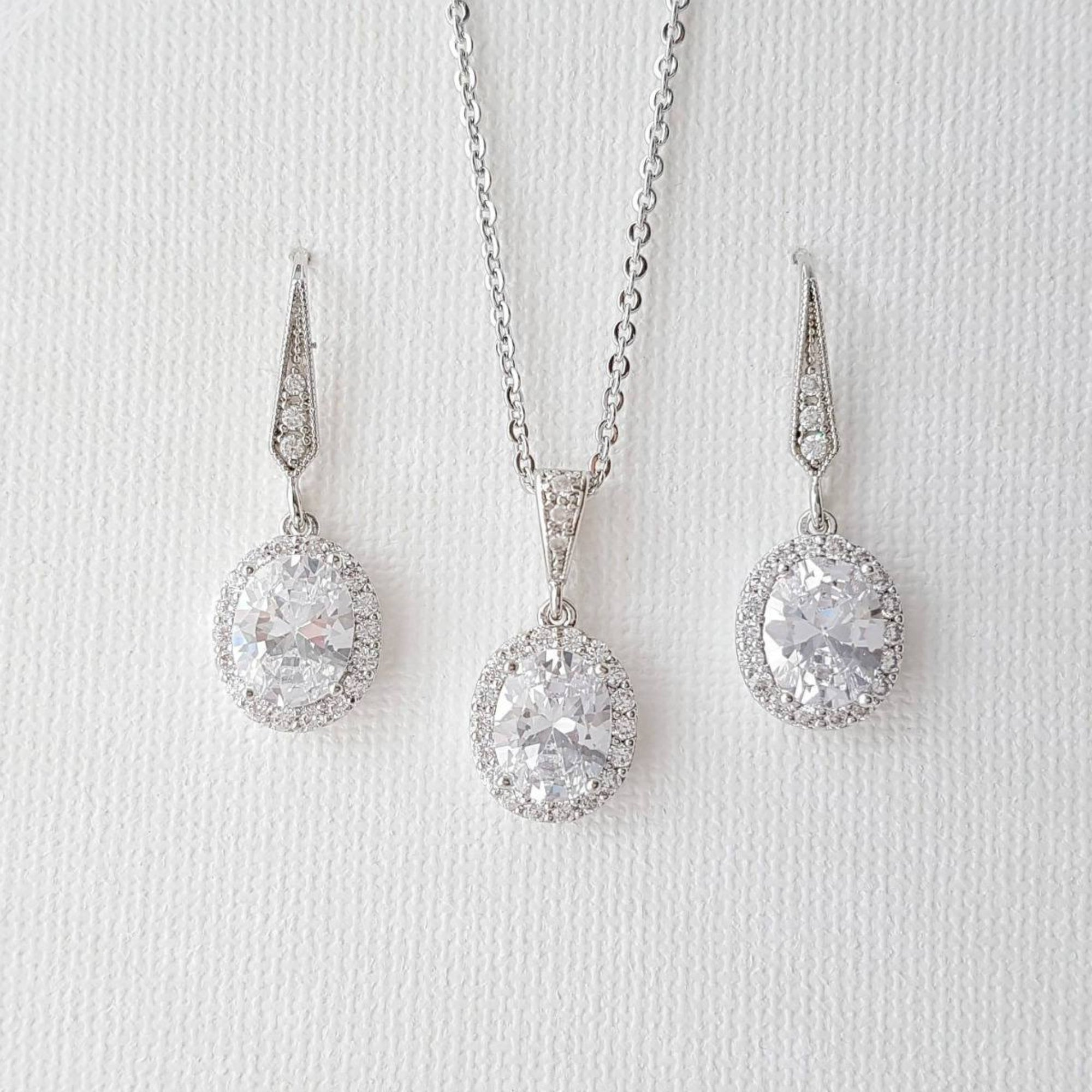 Bridesmaid Jewelry Set, Oval Bridal Set, Crystal Drop Earrings Necklace Set, Halo Style, Cubic Zirconia, Wedding Jewelry Set, Emily - PoetryDesigns