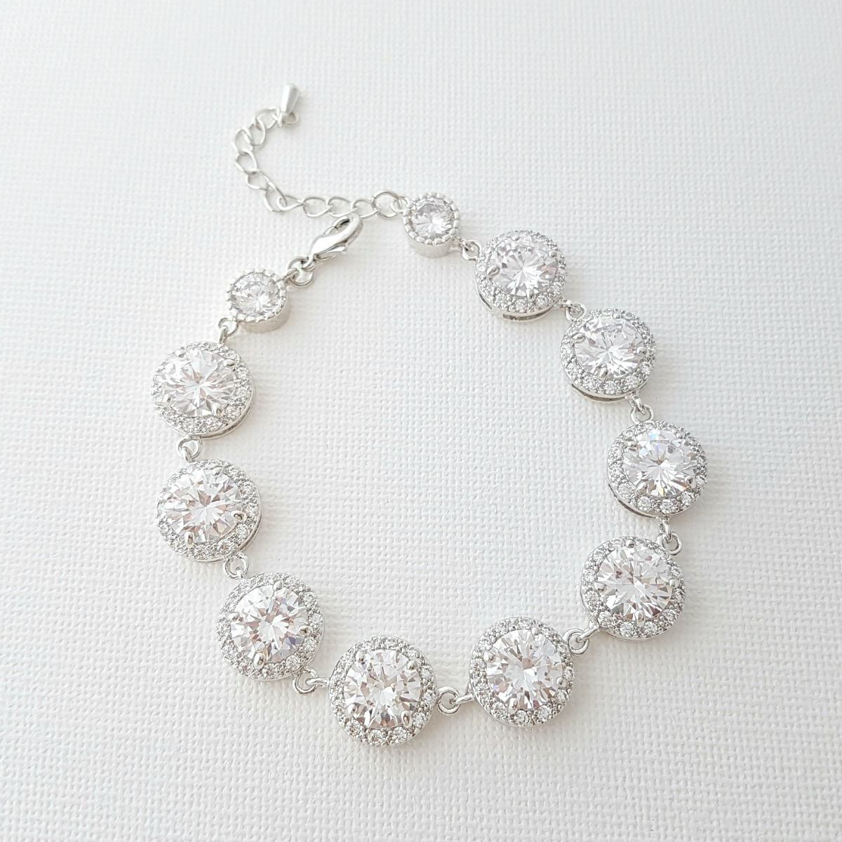 Crystal Bridal Bracelet, Wedding Jewelry, Cubic Zirconia, CZ Bracelet, Crystal Wedding Bracelet, Bridal Jewelry, Evita