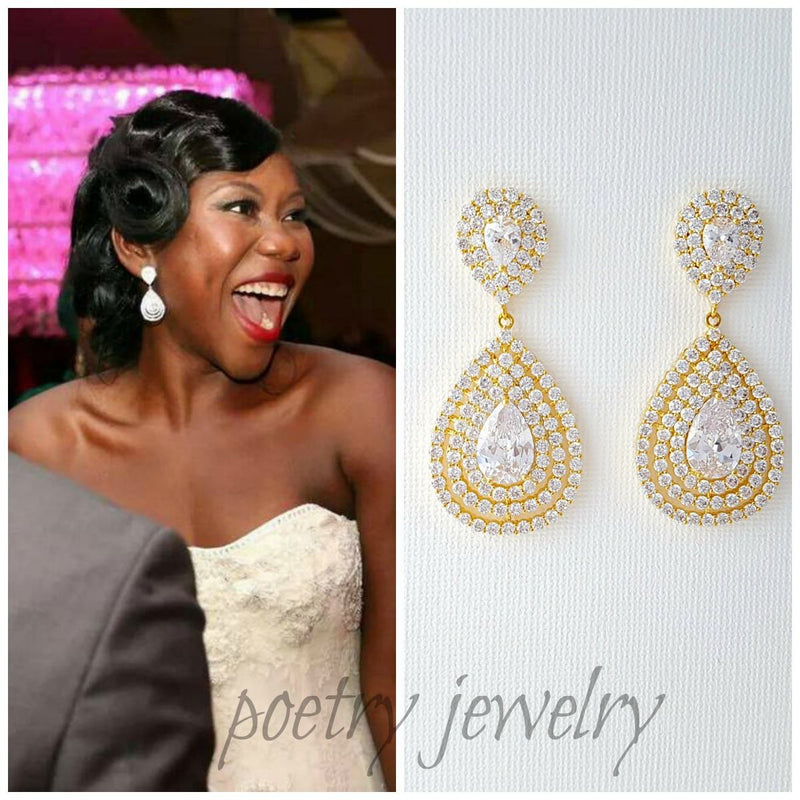 14K big gold earrings for wedding