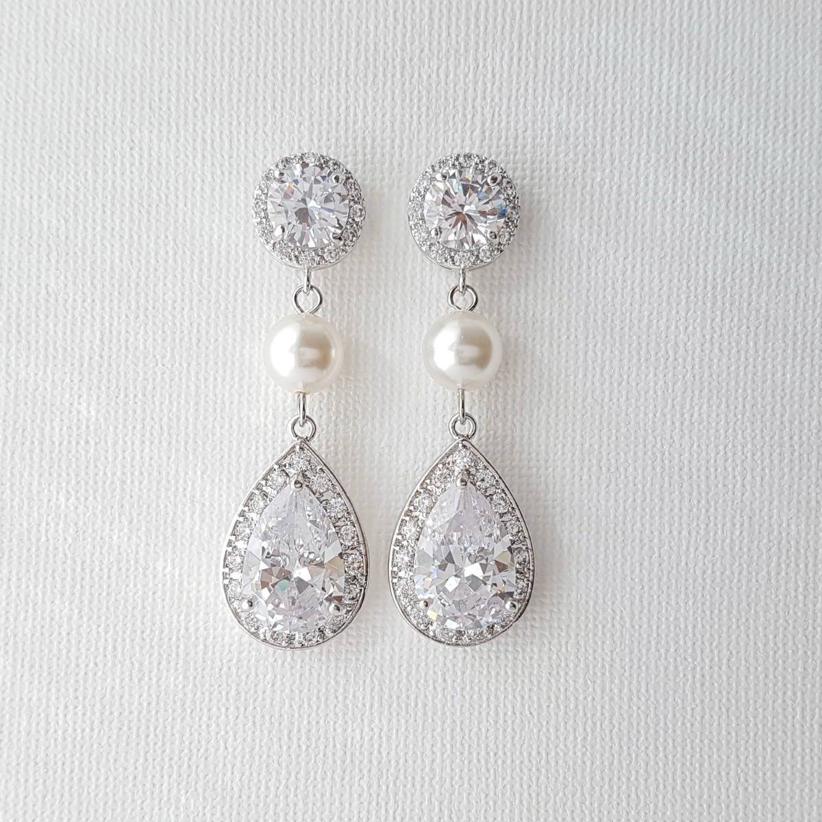 Pearl and Crystal Drop Earrings-Evita