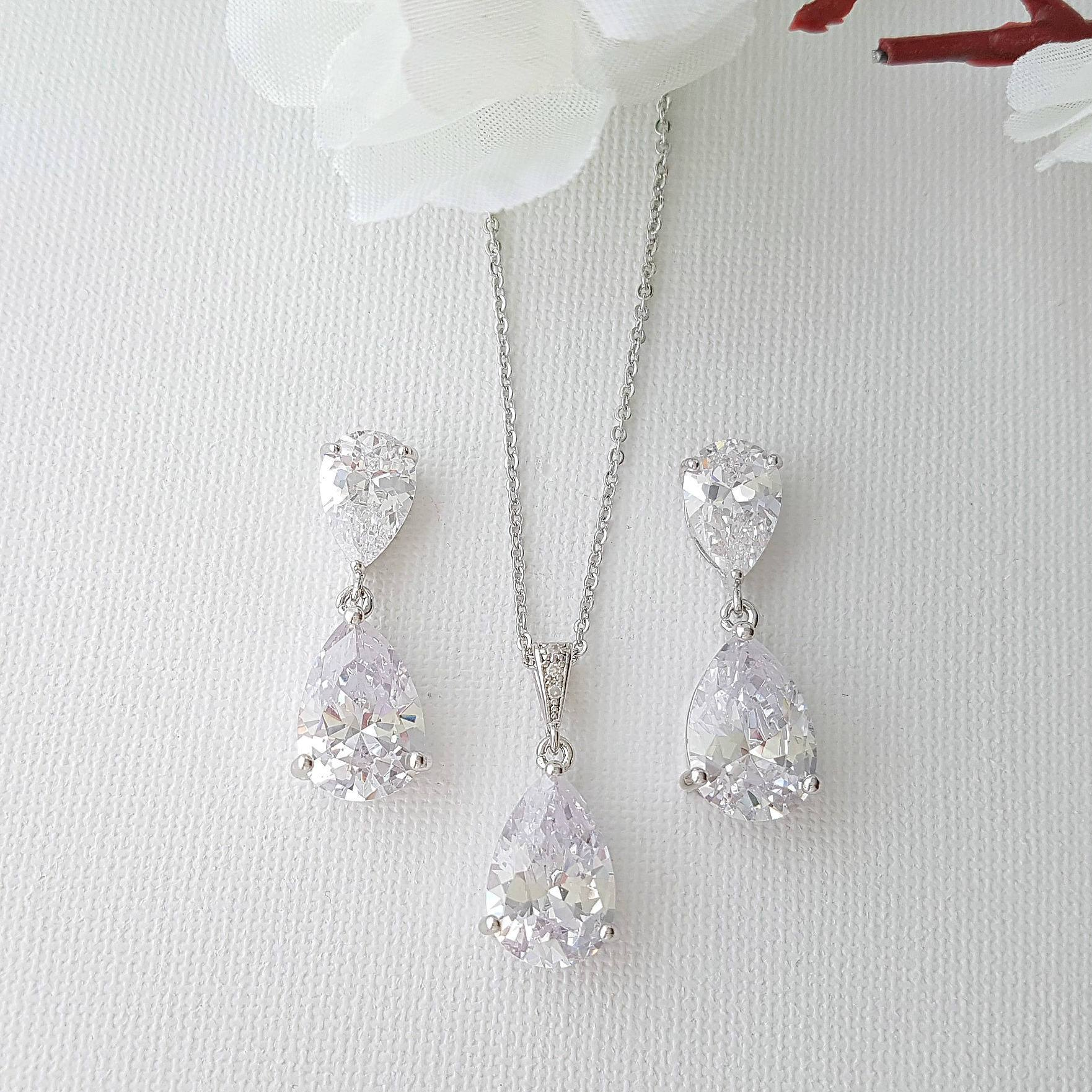 Crystal Bridal Jewelry Set , Crystal Earrings Necklace Set, Bridal Jewelry, Cubic Zirconia Jewelry Set, Rose Gold, Clara Set