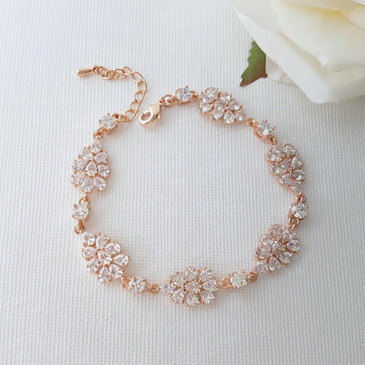 Rose Gold Bridal Bracelet, Crystal Wedding Bracelet, Wedding Jewelry, Leaf Bridal Bracelet, Bridal Jewelry, Bracelet for Brides, Julia