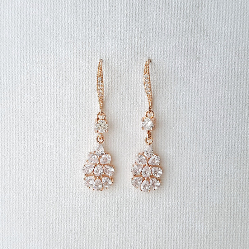 Rose Gold Bridal Earrings, Crystal Dangle Earrings, Wedding Jewelry, Bridesmaid Earrings,  Rose Gold Teardrop Earrings, Julia