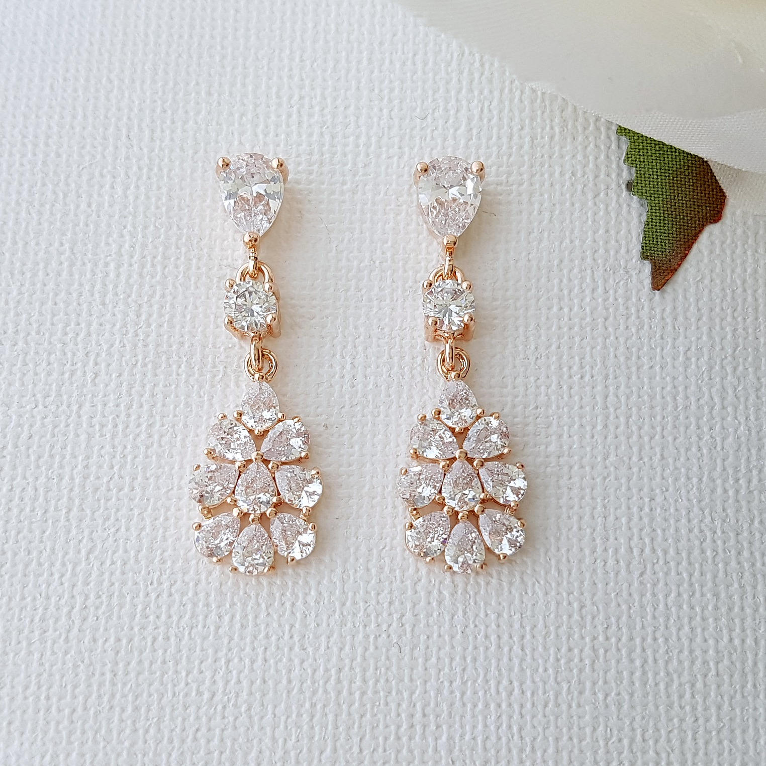 Rose Gold Bridal Earrings, Crystal Bridal Earrings, Wedding Earrings, Leaf Drop Earrings, Wedding Jewelry, Julia Earrings