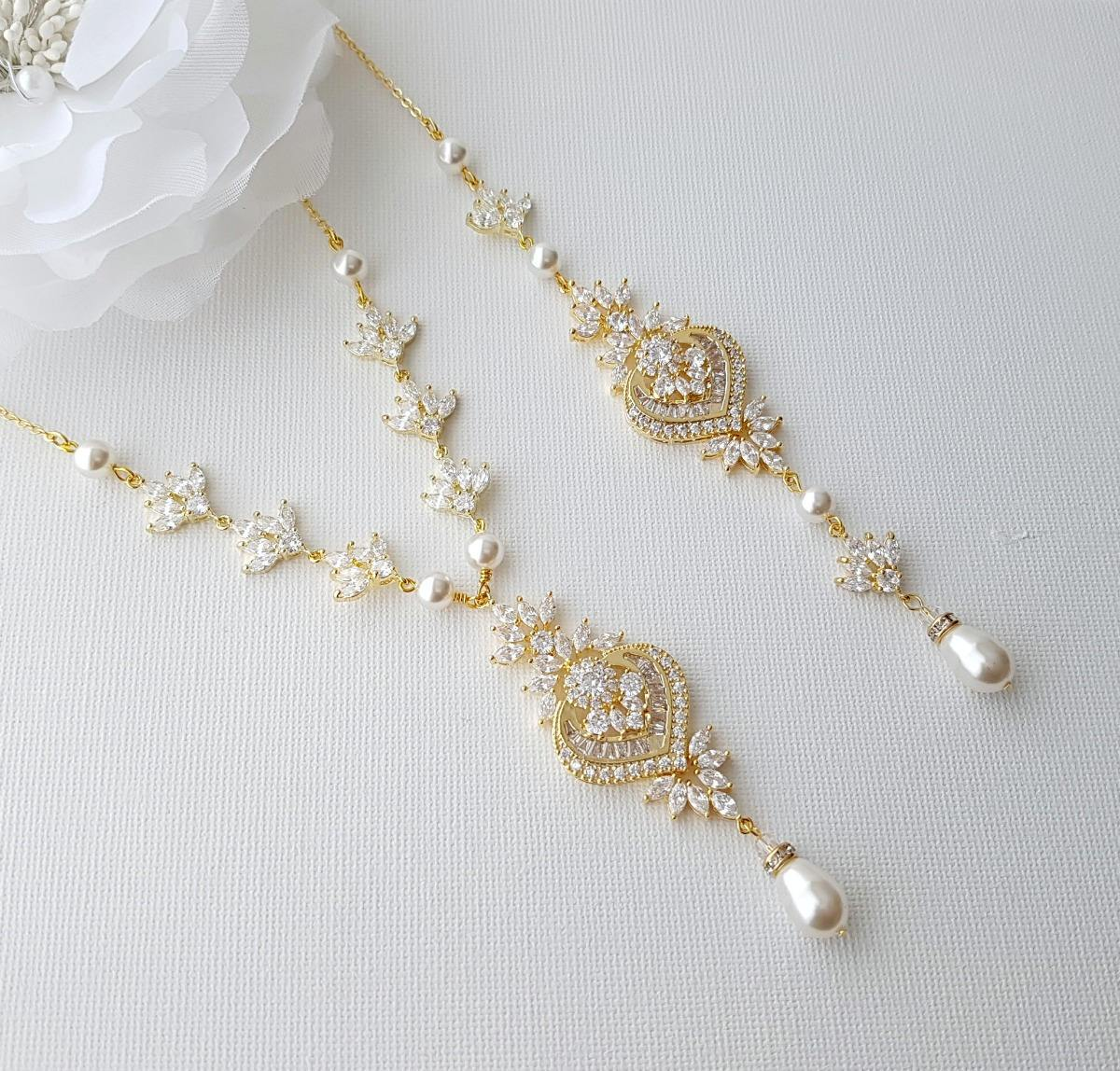Gold Backdrop Bridal Necklace, Wedding Back Necklace, Crystal Backdrop Necklace, Swarovski Pearls, Rose Gold, Bridal Jewelry, Rosa - PoetryDesigns