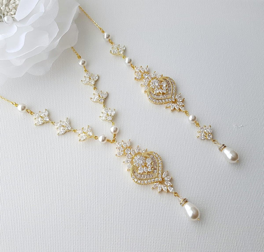 Gold Backdrop Bridal Necklace, Wedding Back Necklace, Crystal Backdrop Necklace, Swarovski Pearls, Rose Gold, Bridal Jewelry, Rosa
