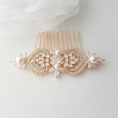 Rose Gold Bridal Hair Comb, Wedding Hair Comb, Pearl Bridal Hair Piece, Crystal, Gold,Swarovski Pearls, Bride Hair Jewelry, Rosa