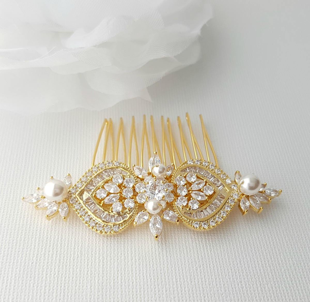Gold Hair Comb, Wedding Hair Comb, Pearl Bridal Hair Piece, Crystal Rose Gold Headpiece, Swarovski Pearls, Bride Hair Jewelry, Rosa - PoetryDesigns