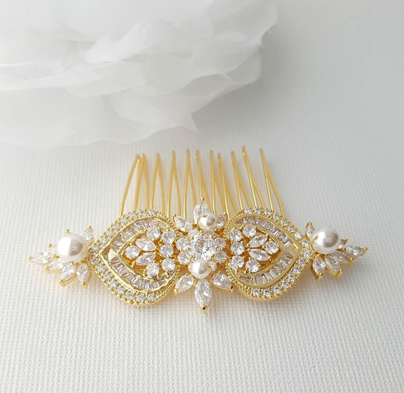 Gold Hair Comb, Wedding Hair Comb, Pearl Bridal Hair Piece, Crystal Rose Gold Headpiece, Swarovski Pearls, Bride Hair Jewelry, Rosa