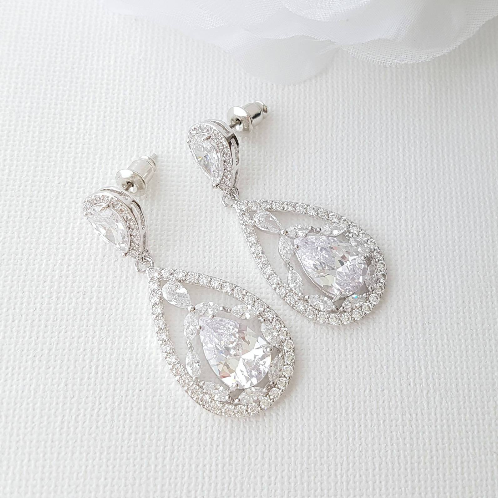 Silver bridal Drop Earrings in CZ