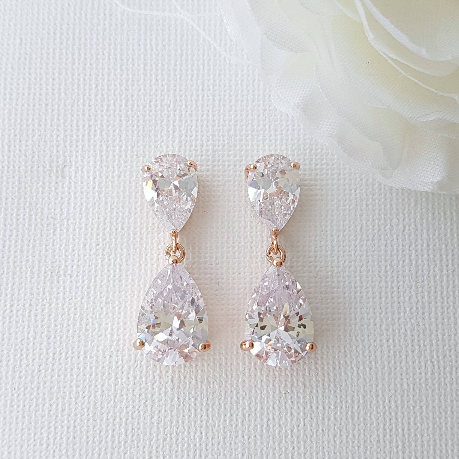 Rose Gold Diamante Earrings
