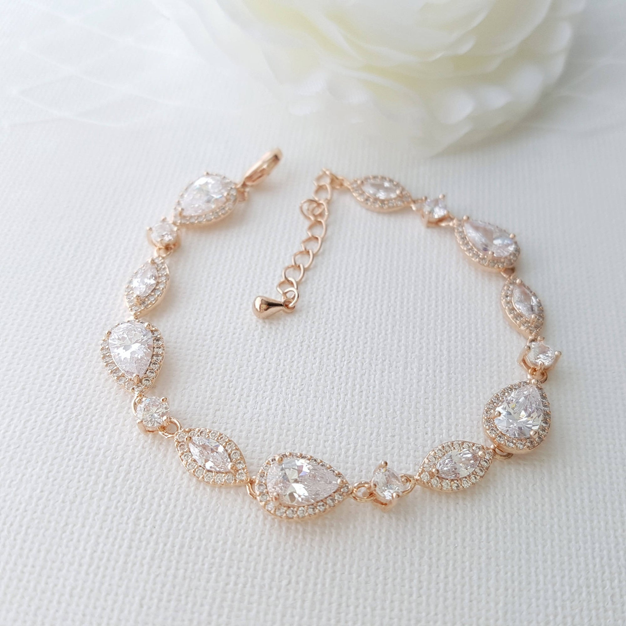 Rose Gold Wedding Bracelet, Crystal Bridal Bracelet, Wedding Jewelry, Simple Bridal Bracelet, Gold, Bridal Jewelry, Abby Bracelet