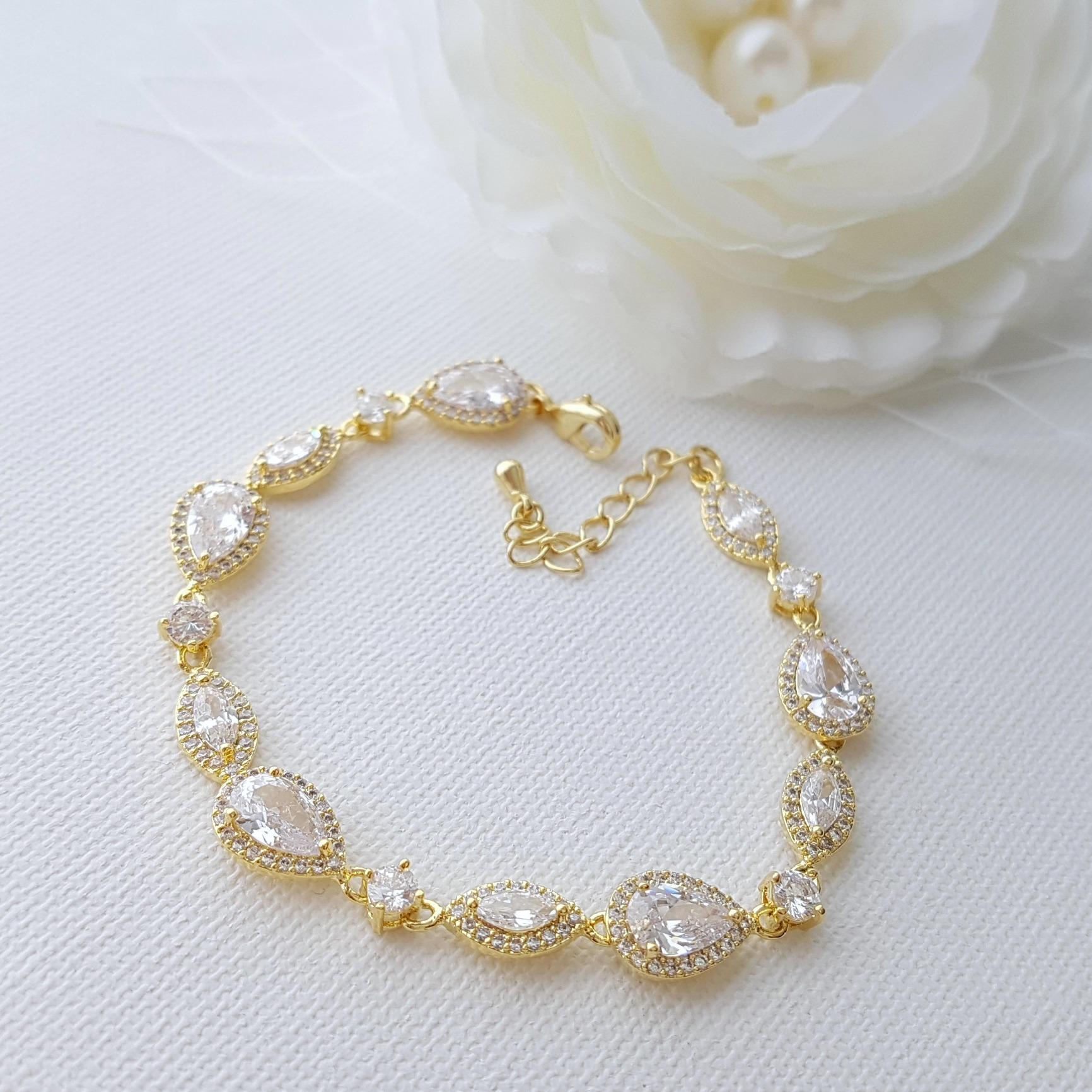 Gold Wedding Bracelet, Crystal Gold Bridal Bracelet, Wedding Jewelry, Simple Bracelet, Bridal Jewelry, Rose Gold, Abby Bracelet