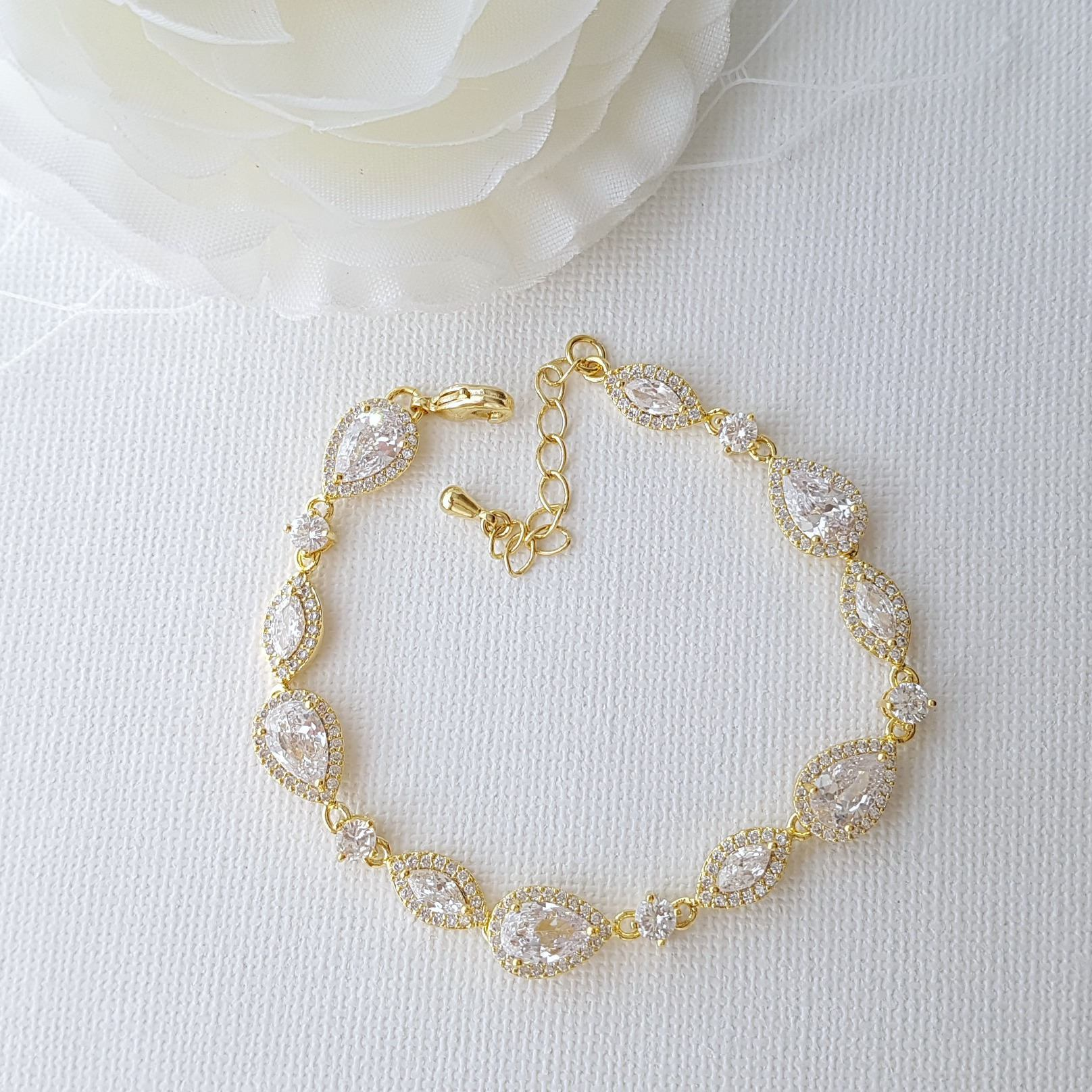 Gold Wedding Bracelet- Abby - PoetryDesigns