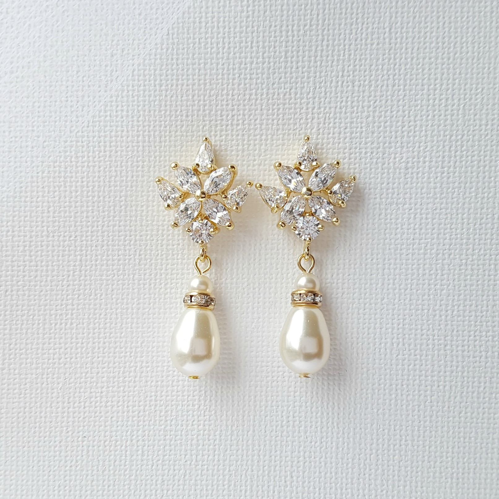Gold Bridal Earrings, Gold Wedding Earrings, Pearl Drop Earrings, Swarovski Pearls, Gold Wedding Jewelry, Rosa