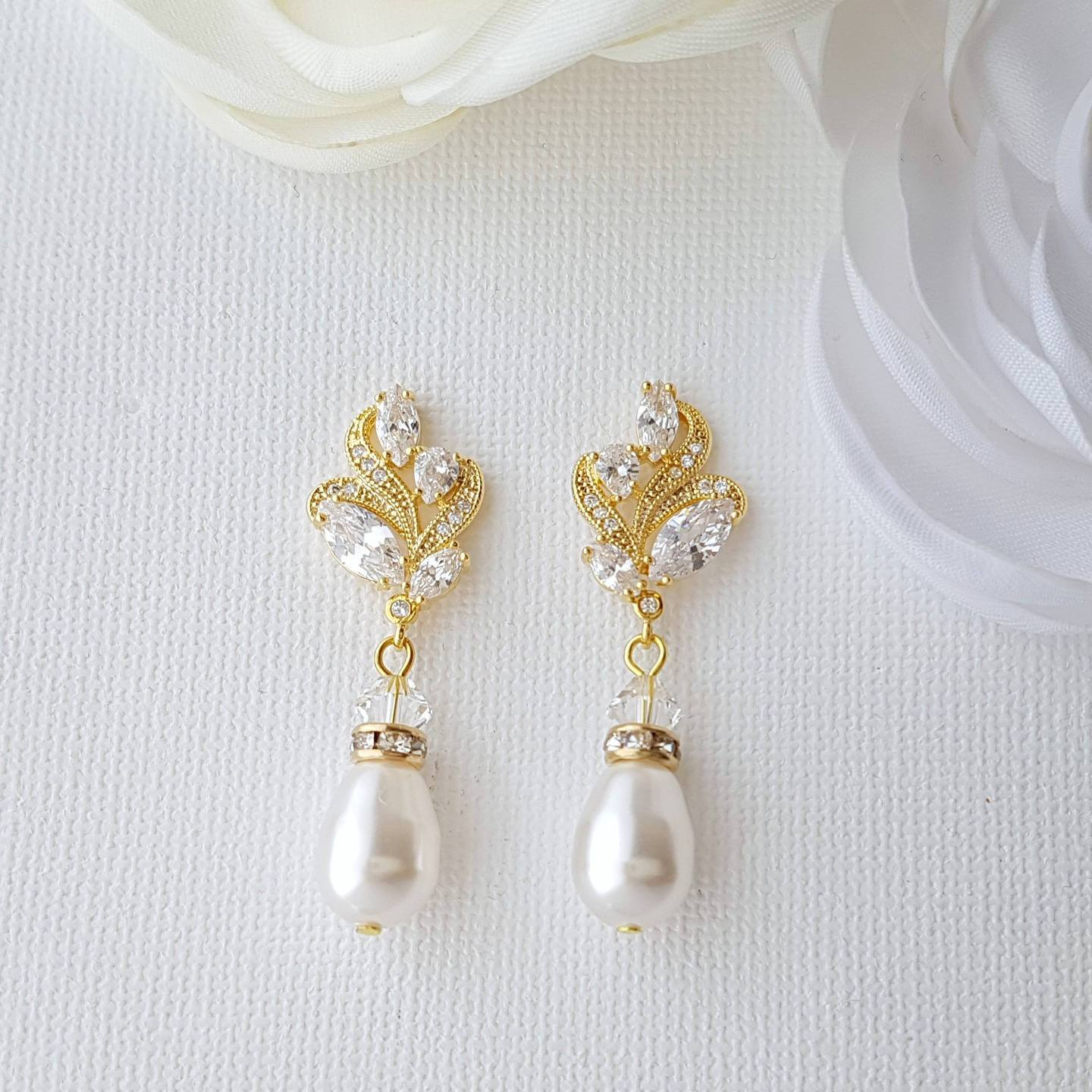 Gold Bridal Earrings, Gold And Pearl Earrings, Crystal Wedding Earrings, Swarovski Pearls, Gold Bridal Jewelry, Wedding Jewelry , Wavy